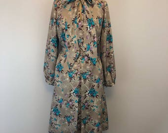 Vintage silk floral printed day dress 1960s