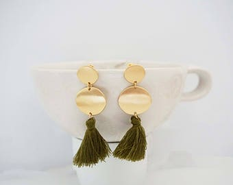 Olive Green Tassel and Gold Circle Post Earrings