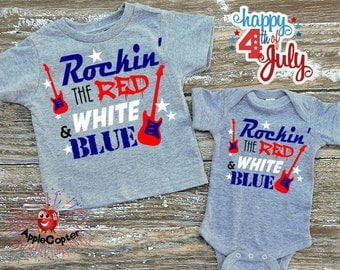 Boys 4th of July Shirt, Rocking The Red White and Blue, Kids July 4th Outfit, Toddler American Shirt, Rocker Kid, PERSONALIZED, AppleCopter