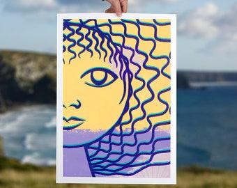 Art print female modern art face colourful face women artwork minimal abstract print home decor wall art purple amber yellow giclee print