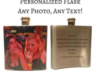 Custom Flask / Personalized Flask With Any Photo Or Text / Stainless Steel 6oz Pocket Flask / Valentines Day Gift