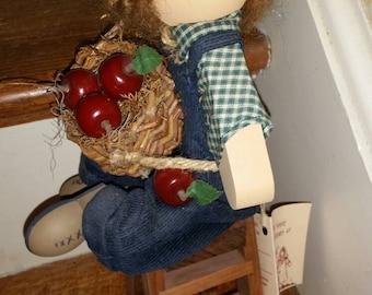 Folk Art Wooden Boy Picking Apples Sitting Ladder