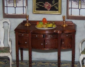 Buffet Sideboard for 1:12th Dollhouse.  Walnut. Vintage.