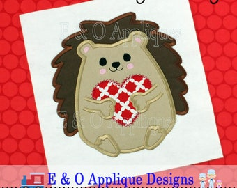 Hedgehog Heart Applique Design - Hedgehog Embroidery Design - Valentine's Embroidery Design - Valentine's Applique - Heart Embroidery Design