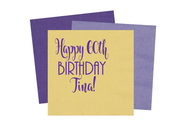 Happy 60th Birthday napkins, 60th birthday party, birthday napkins, personalized napkins, monogrammed napkins, custom party napkins
