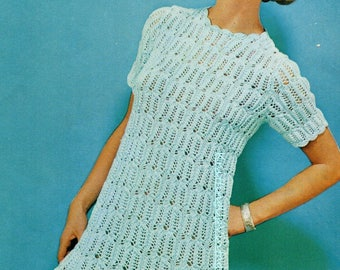 Knitting Pattern PDF Womens Ladies Lacy Dress  32 - 38  Double Knit