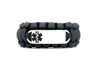 Custom 550 Paracord Bracelet Medical ID - Personalized Engraved Black Stainless Steel Medical ID Bracelet Includes FREE Engraving