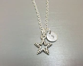 Star Necklace, Personalized Jewelry, Initial Necklace, Custom Necklace, Letter Necklace, Hand Stamped Jewelry, Gifts for Her Teen Gift Gifts