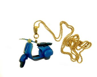 Vespa, Scooter, Vespa Piaggio, Awesome Long Necklace, Motorcycle Necklace - Motor Scooter Pendant, Gold jewelry
