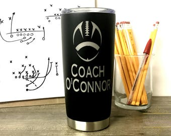 Football Coach Gift - Dishwasher Safe Coach Mug - Personalized Gift for Coach - Engraved Stainless Steel coffee tumbler - Christmas Gift