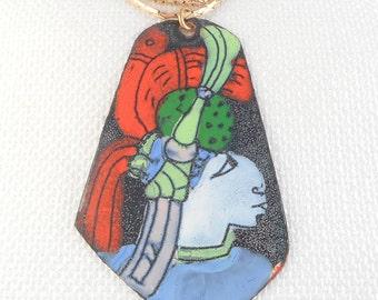 Vintage Large A. Luna Tribal Woman Enamel Pendant Necklace Studio D'Arte Copper Enamel Tribal Woman Necklace Mid Century Colorful Necklace