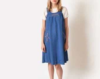 1970s Blue Denim Jumper Dress with Embroidery 70s Vintage Jean Overall Dress XS S