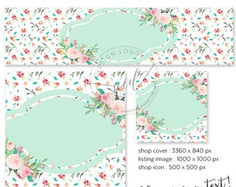 DIY Etsy shop set watercolor floral pattern with mint green label, fresh branding, instant download etsy cover, new size cover