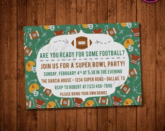 Football Super Bowl Party Invitation (Printable)