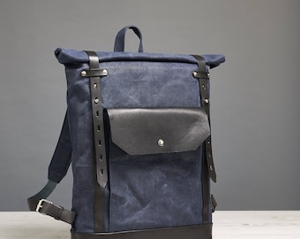 Waxed canvas rucksack. Roll top waxed canvas backpack. Outdoors gift.