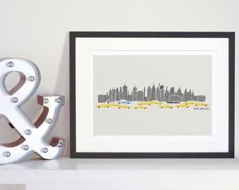 New York Skyline Print, Travel City Art, Mid Century Illustration, Retro Wall Art, Yellow Cab, Taxis, Statue of Liberty, NYC Panorama