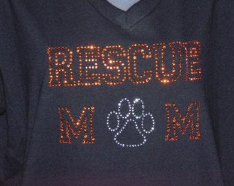 Rescue Mom Rhinestone T-Shirt
