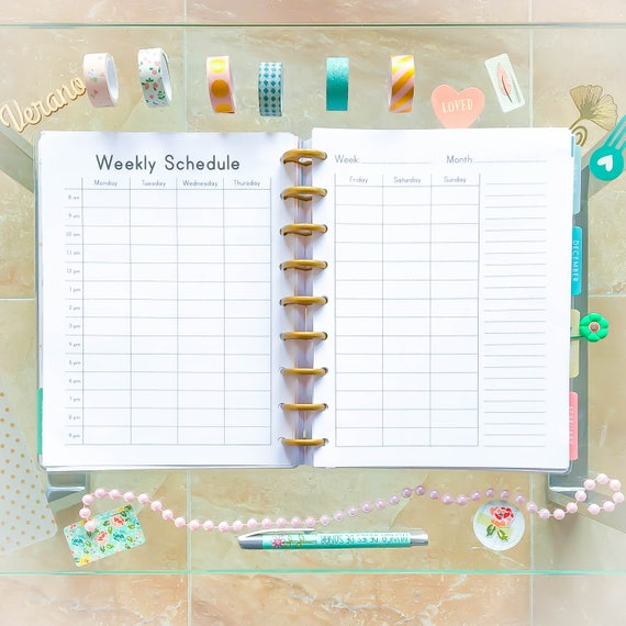 Happy Planner Hourly WEEKLY SCHEDULE Printable PDF Mambi