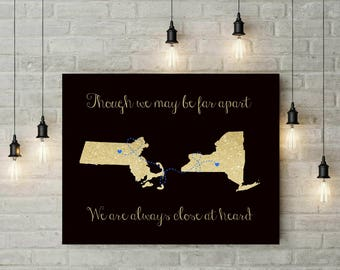 Friendship Print | Long Distance Gift | Personalized Map Print | Relationship Map Gift | Going Away Gift For Friend - 53877