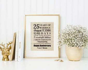 25th Anniversary Gift For Parents | For Husband | For Wife | For Him | For Her | Rustic Burlap Art Print | Custom Canvas - 55877