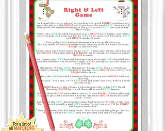 Instant Download Winter Right and Left game with buffalo checks and snowmen, Winter Baby or Bridal shower game, Red Plaid Christmas activity