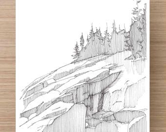 Ink Drawing of rocky coast in Acadia National Park - Maine, Landscape, Rocks, Sketch, 5x7 Print, Art, Drawing, Illustration, Pen and Ink