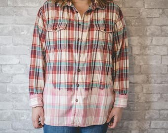 XL red, blue and white flannel