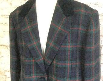 Vintage Jacket Blazer Coat By Scina Line Plaid Checked Tartan Wool Velvet Collar Bohemian Made In Italy 16- 18  UK c 1980s