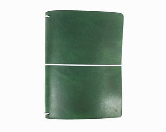 Green Leather Travelers Cover - Vegetable Tanned - CityGirl Collection - Fresh Pine - Notebook - Full Grain - Journal - Hand-Dyed