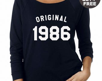32th birthday for gift sweater 1986 sweatshirt number shirt pullover sweatshirt crewneck sweater funny birthday sweatshirt women sweater men