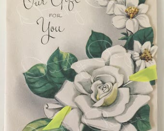 Gift for You - Unused Vintage 1940s Embossed Die-Cut Card with Magnolias and Ribbon
