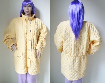 YELLOW COAT - quilted, 90s, 80s, jacket, skiwear, winter, aesthetic, orange, padded, puffer, long sleeve, sportswear, relief, snow-