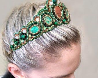 Kokoshnik Victorian tiara Medieval renaissance headband Baroque tiara Medieval crown Medieval costume headdress Tudor jewelry Beaded tiara