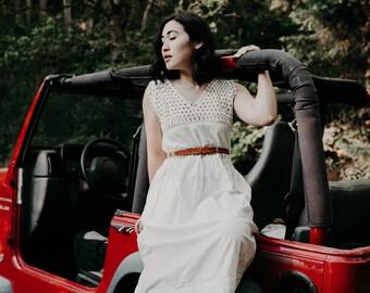 Vintage 1970s White Crochet Cotton Dress
