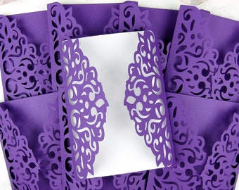 DIY Laser Cut Gatefold Wedding Invitation Set of 10, Purple Gatefold Invitation, Modern Invitation, Elegant Invitation, Lace Invite