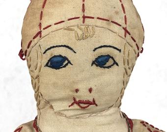 vintage handmade folk art doll, 1920's cloth doll, rag doll, fabric doll