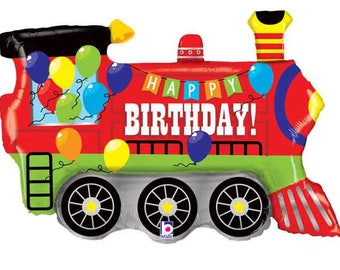 "37"" Train Balloon / train theme / train party / railroad party / train/ railroad / train shape balloon/ train party balloon"
