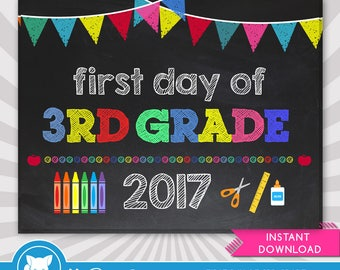 First Day of 3rd Grade - 1st Day of School Printable - First Day of School Sign - Photo Props - Chalkboard Sign - Instant Download