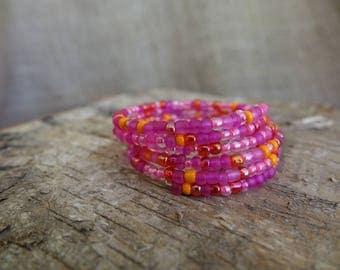 Pink Wrap Bracelet, Pink Bracelet, Orange Bracelet, Coil Bracelet, Beaded Bracelet, Memory Wire Bracelet, Beaded Bangle Bracelet, Clasp Free