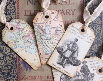 Antique Ephemera BOOKMARK GIFT TAGS 1890's, Antique Geography Primer, Vintage Map, World Travel & Culture, Europe, Hand Made