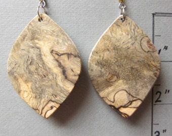 Unusual Sindora Burl Large Exotic Wood Earrings repurposed ecofriendly Handcrafted ExoticWoodJewelryAnd