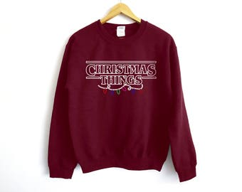 Stranger Things Christmas Sweater -Christmas Things Sweatshirt - Stranger Things - Eleven - Eggo - Christmas Party - Tv Sweater