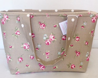 Tote Bag, Taupe Rosebud Zippered Tote Bag, Medium Zippered Bag, Medium Zip Bag, Knitting Bag, Craft Bag, Baby Bag, Overnight Bag, Shopping