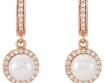 Any Color 14K Gold Pearl And Diamond Dangle Earrings: Has Matching Necklace & Earrings
