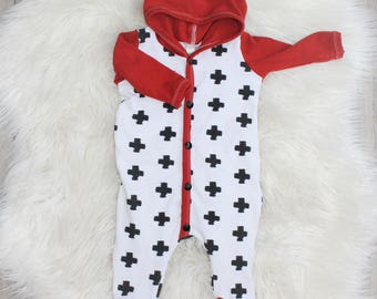 Rust Orange Swiss Cross Romper - Snap-Up One Piece -  Pixie Hood - Newborn - Going Home Outfit