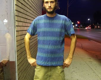 90's LL BEAN STRIPED blue / green t-shirt size mens medium