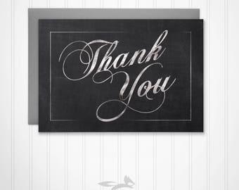 Chalk Thank You Card, Chalk Theme Thank You Card, Chalkboard Thank You, Digital, Printable, Download