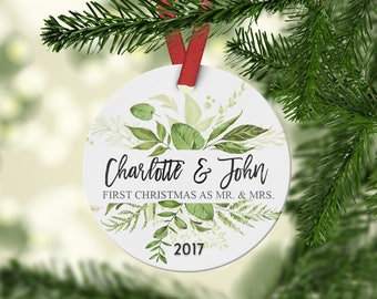 First christmas ornament married, Mr. and Mrs. Ornament, Newlywed Christmas ornament, Wedding gift (01021)