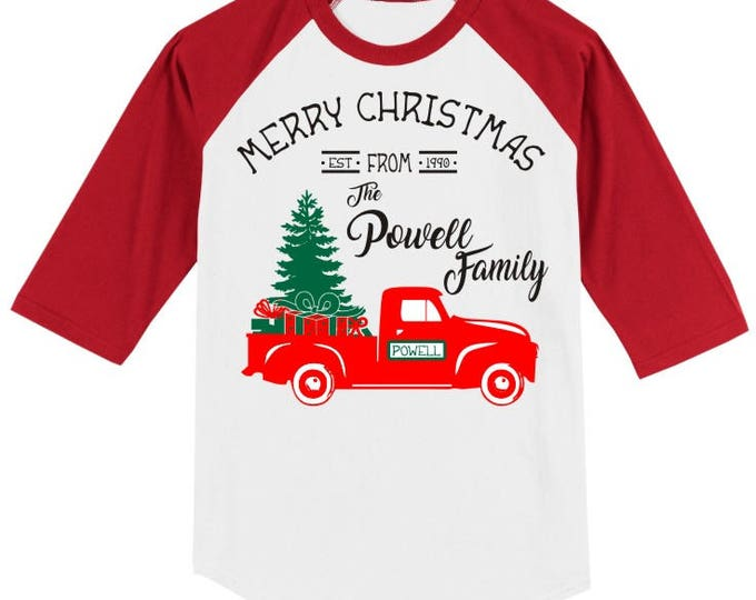 Personalized Christmas Vintage Truck T Shirt 3/4 slv Raglan with Merry Christmas from The __ Family, Est. Date, several sleeve color options
