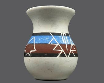 Hand-made Clay Vase Indian Native American Mexican Mexico Art Ceramic White Black Brown Blue